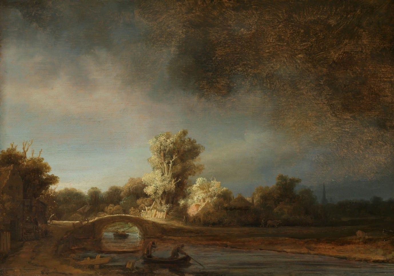 Landschap met stenen brug - Rembrandt van Rijn