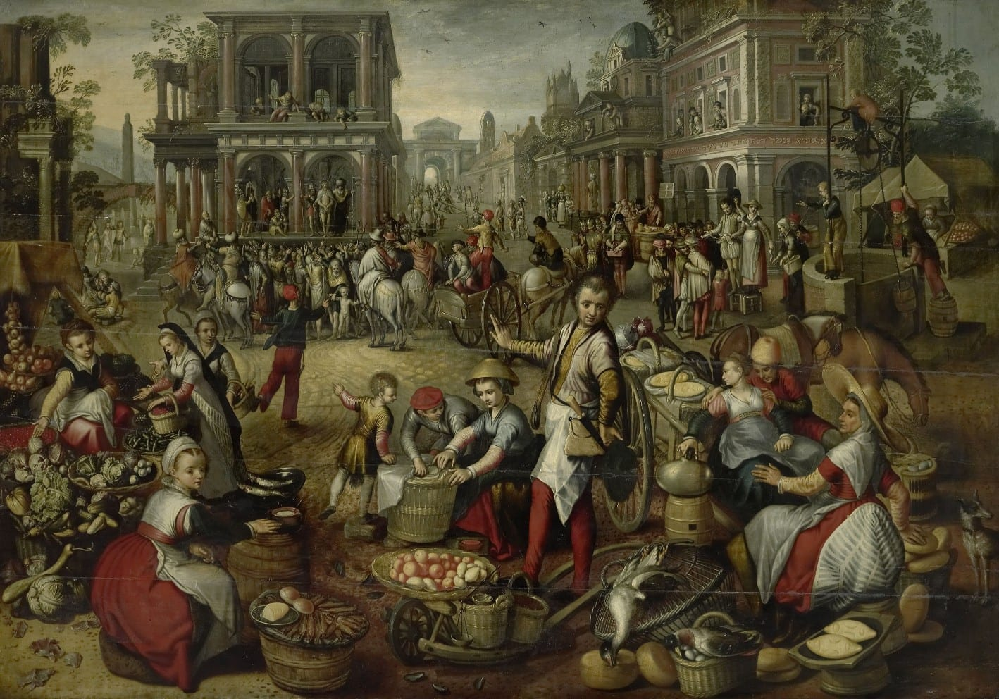 Marktplein, met op de achtergrond de geseling, Ecce Homo en de kruisdraging - Joachim Bueckelaer