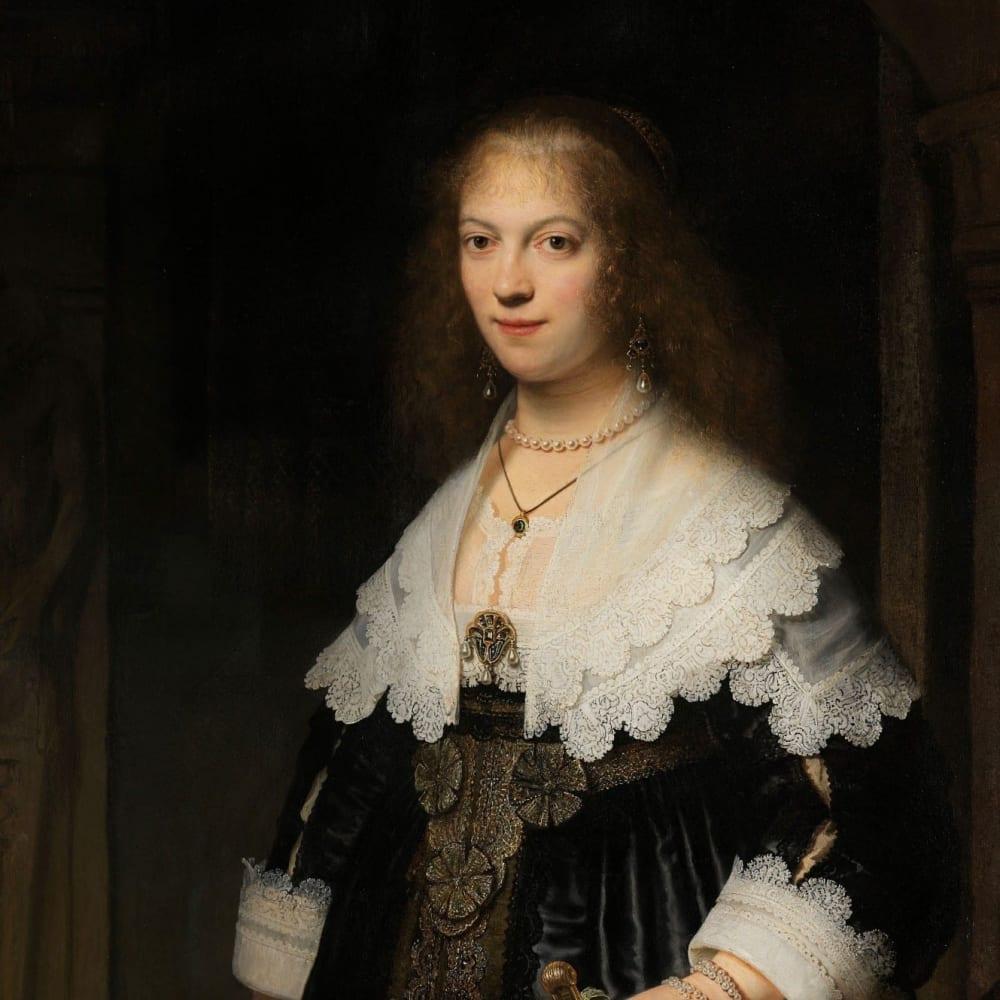 Portret van een vrouw, mogelijk Maria Trip - Rembrandt van Rijn