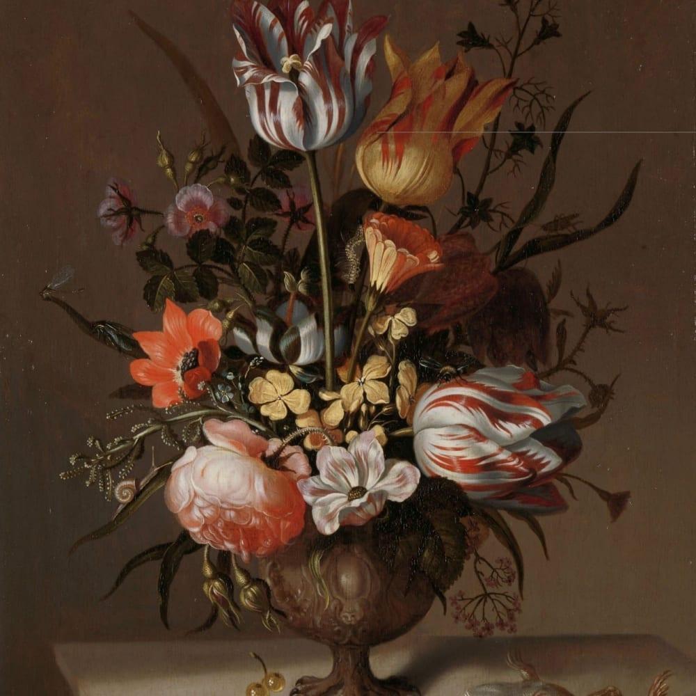 Stilleven met bloemenvaas en dode kikvors - Jacob Marrel