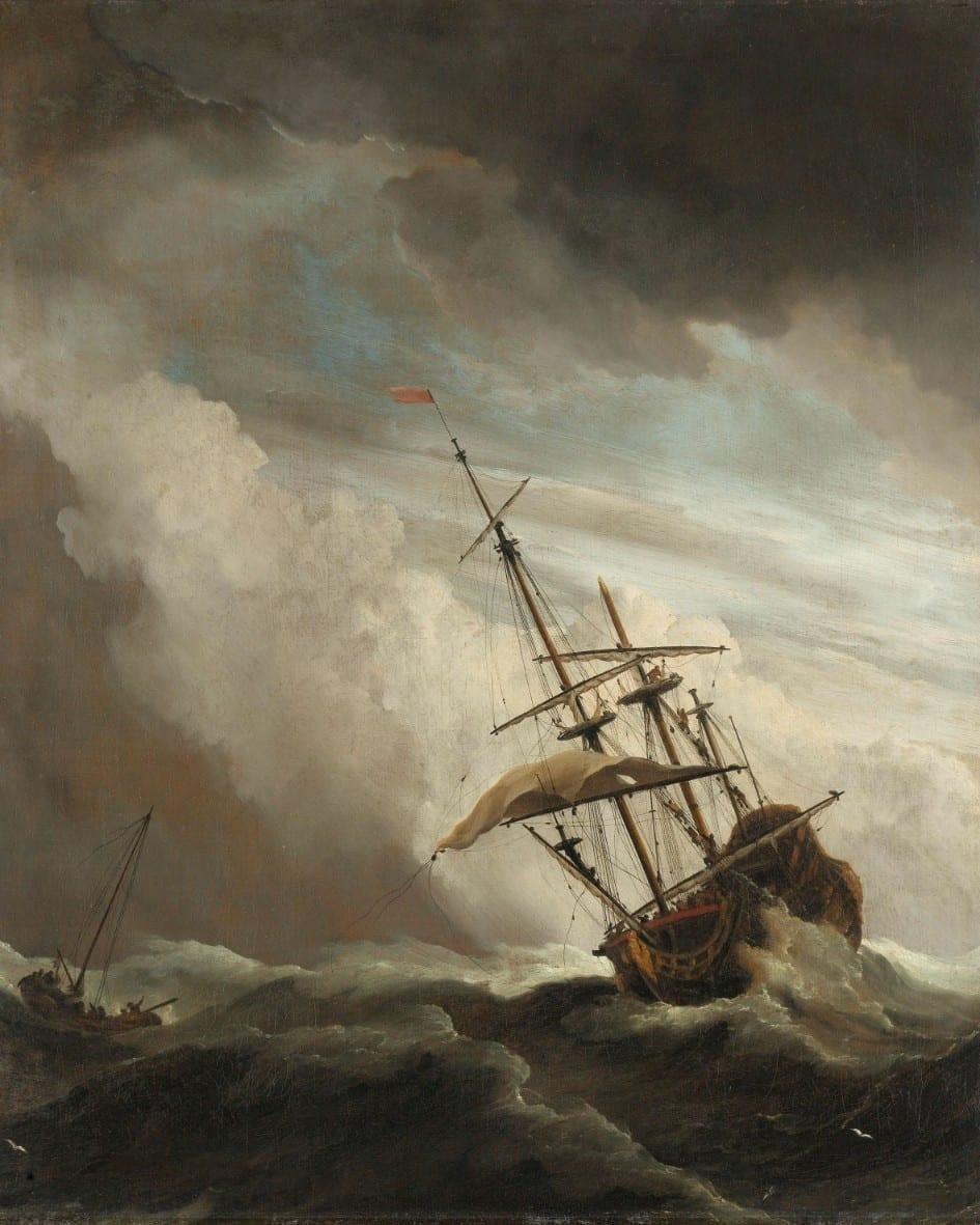 Een schip in volle zee bij vliegende storm, bekend als 'De windstoot' - Willem van de Velde (II)