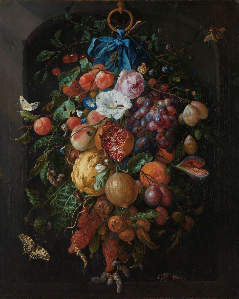 Festoen van vruchten en bloemen - Jan Davidsz