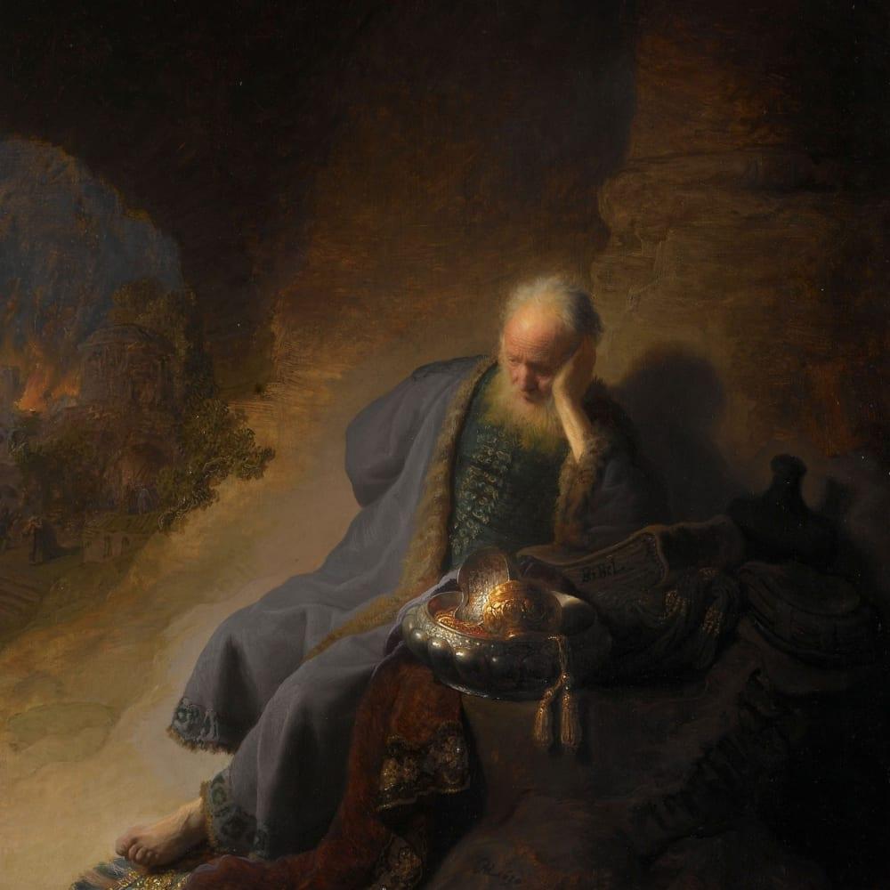 Jeremia treurend over de verwoesting van Jeruzalem - Rembrandt van Rijn