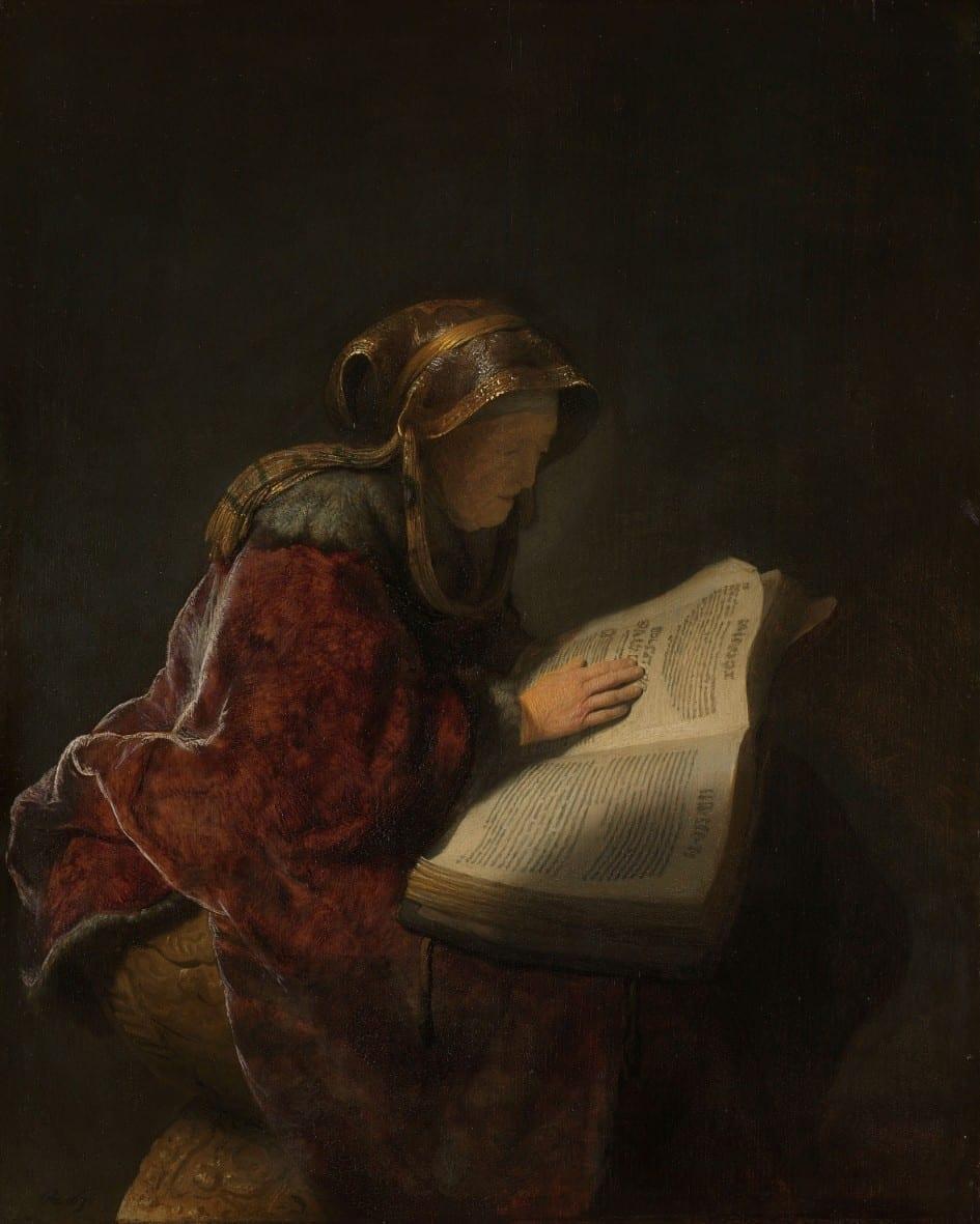 Oude lezende vrouw, waarschijnlijk de profetes Hanna - Rembrandt van Rijn