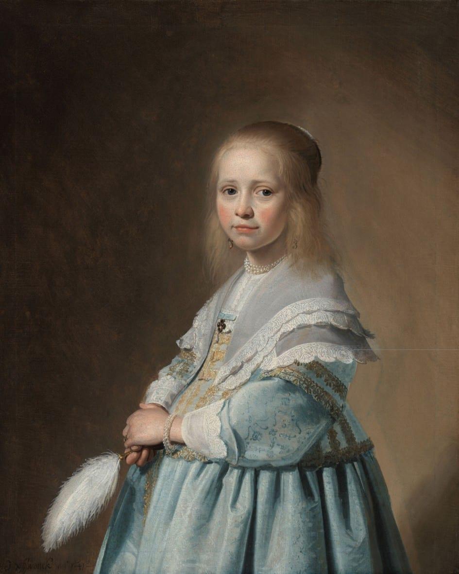 Portret van een meisje in het blauw - Johannes Cornelisz