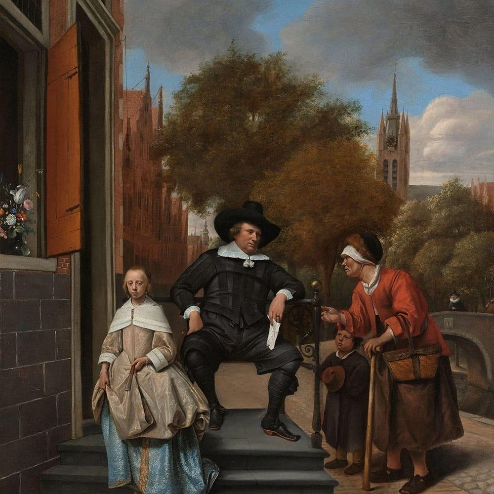 De burgemeester van Delft en zijn dochter - Jan Havicksz. Steen
