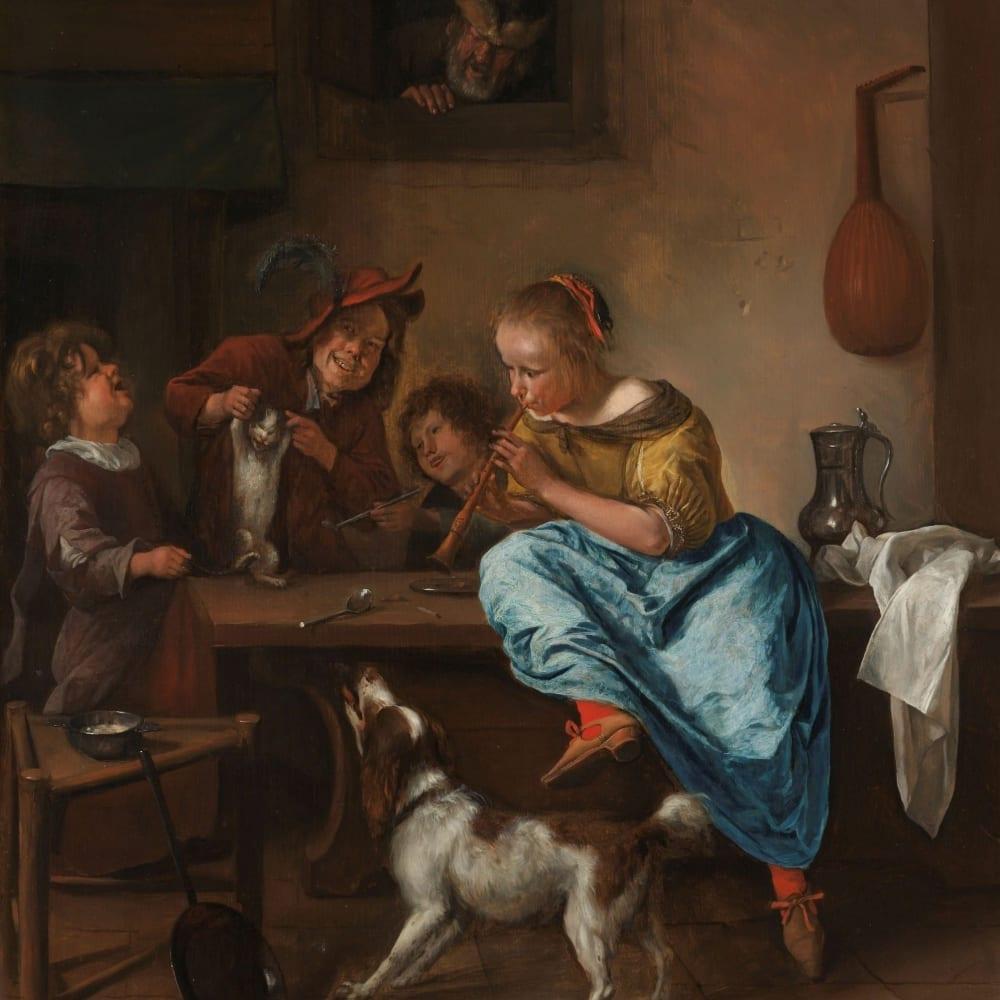 Kinderen leren een poes dansen - bekend als 'De dansles' - Jan Havicksz. Steen