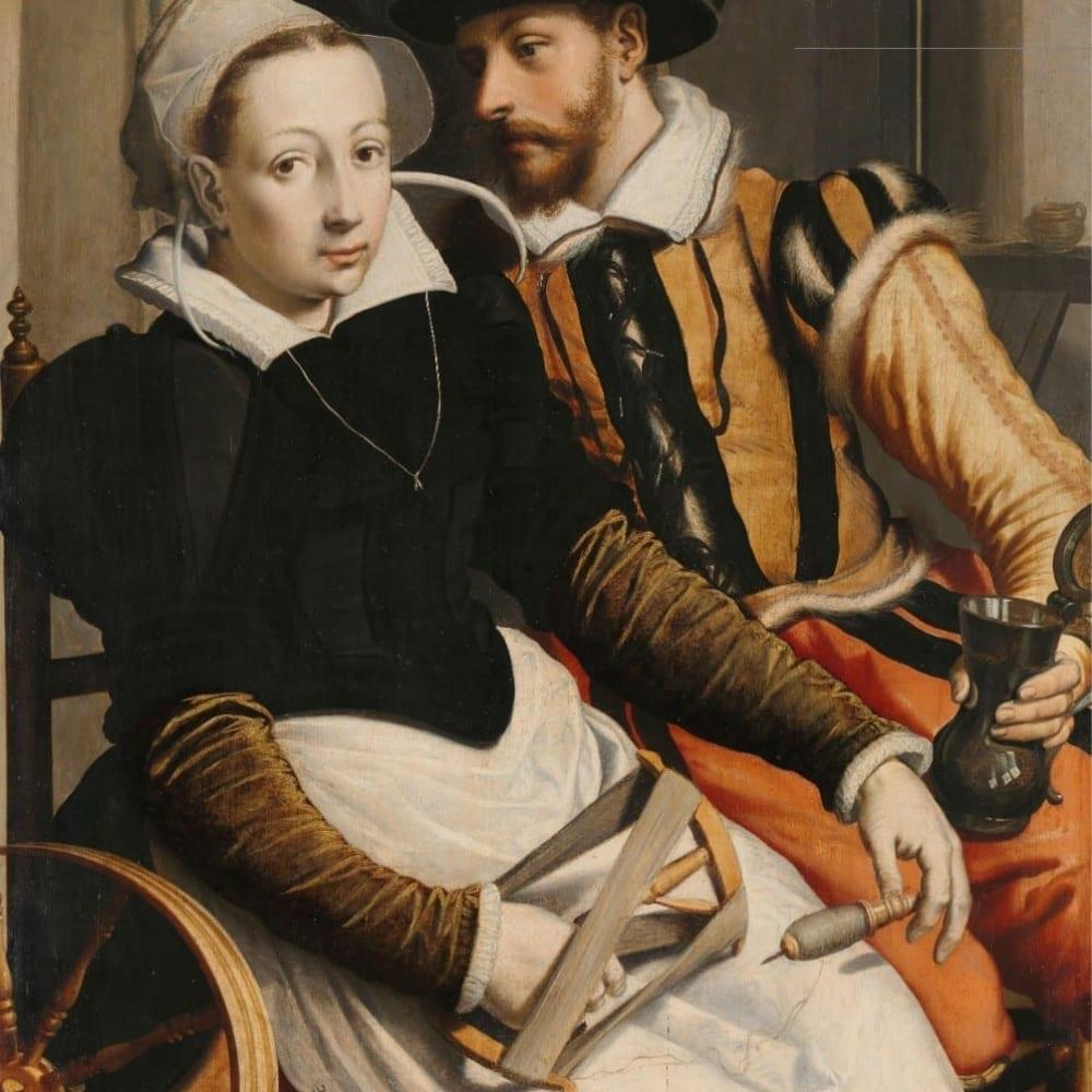 Man en vrouw bij een spinnewiel - Pieter Pietersz