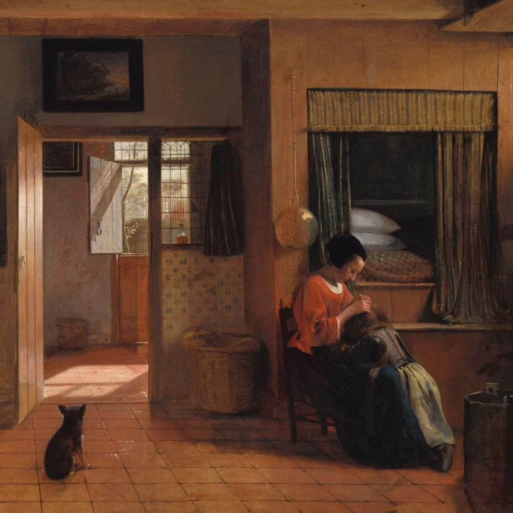 Een moeder die het haar van haar kind reinigt, bekend als Moedertaak - Pieter de Hooch (1)