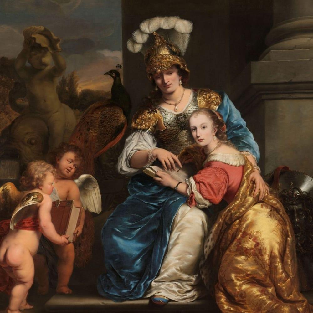 Margarita Trip die als Minerva haar zuster Anna Maria Trip onderwijst - Ferdinand Bol