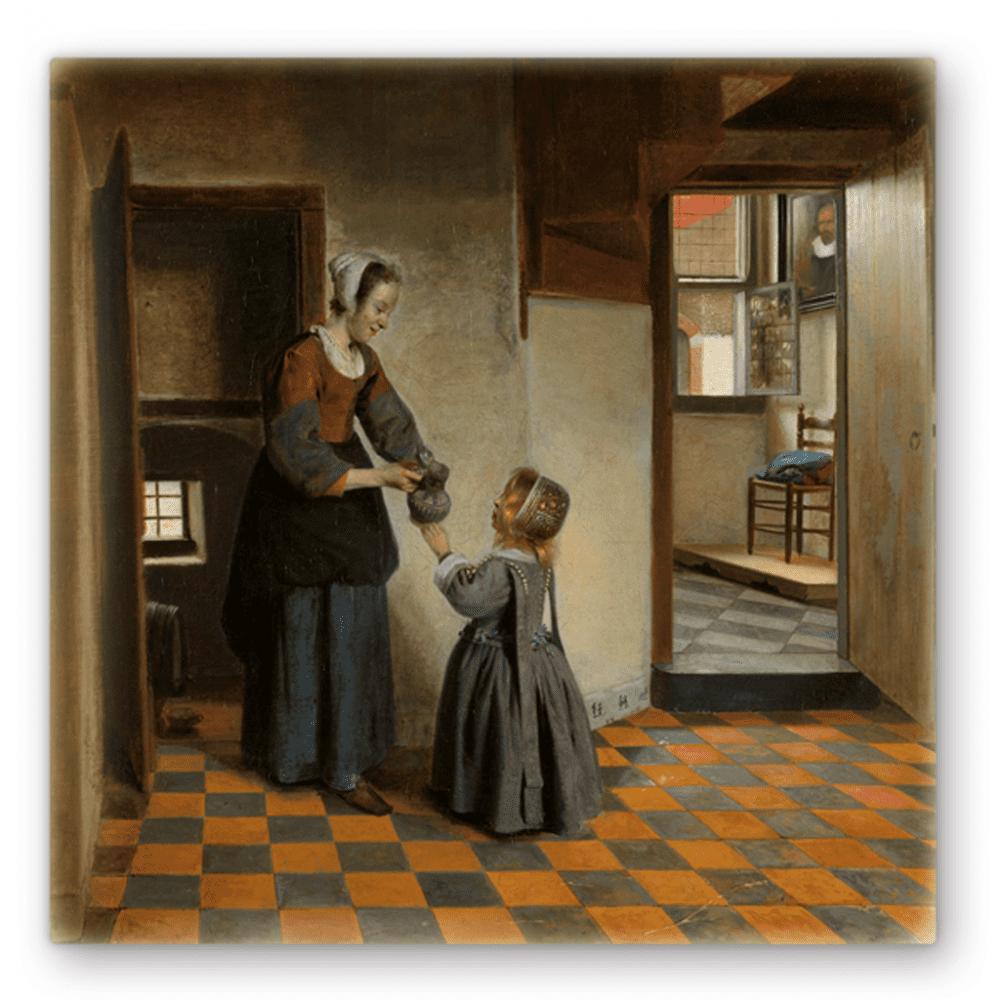 Een vrouw met een kind in een kelderkamer – Pieter de Hooch